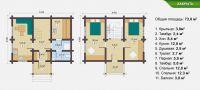 Планировка двухэтажной бани «Геспера» 7х7,4 м из клееного бруса под ключ