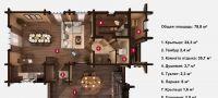 План бани «Альба» 20х12,5 м из оцилиндрованного бревна под ключ