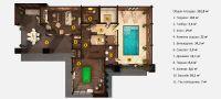 Планировка двухэтажной бани «Алекския» 15,4x25 метров из клееного бруса под ключ