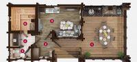 План бани «Фисма» 11,6х5,4 м из оцилиндрованного бревна под ключ