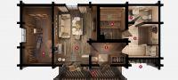 План бани «Рица» 6,2х10,8 м из оцилиндрованного бревна под ключ