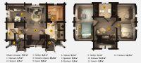 План двухэтажной бани «Дипсия» 6х8 м из клееного бруса под ключ