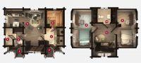 План бани «Одри» 8,4х6,4 м из оцилиндрованного бревна под ключ