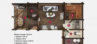 План бани «Амели» 8,5х11,8 м из оцилиндрованного бревна под ключ