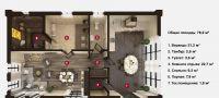План бани «Мира» 8х12 м из оцилиндрованного бревна под ключ