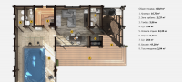 Планировка бани «Селена»11,8х14,6 м из клееного бруса под ключ