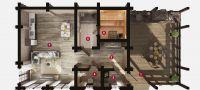 План бани «Нанса» 20х12,5 м из оцилиндрованного бревна под ключ