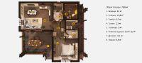 Планировка бани «Тимо» 9,6x10,8 метров