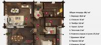 План бани «Фанна» 9,9х10,9 м из оцилиндрованного бревна под ключ