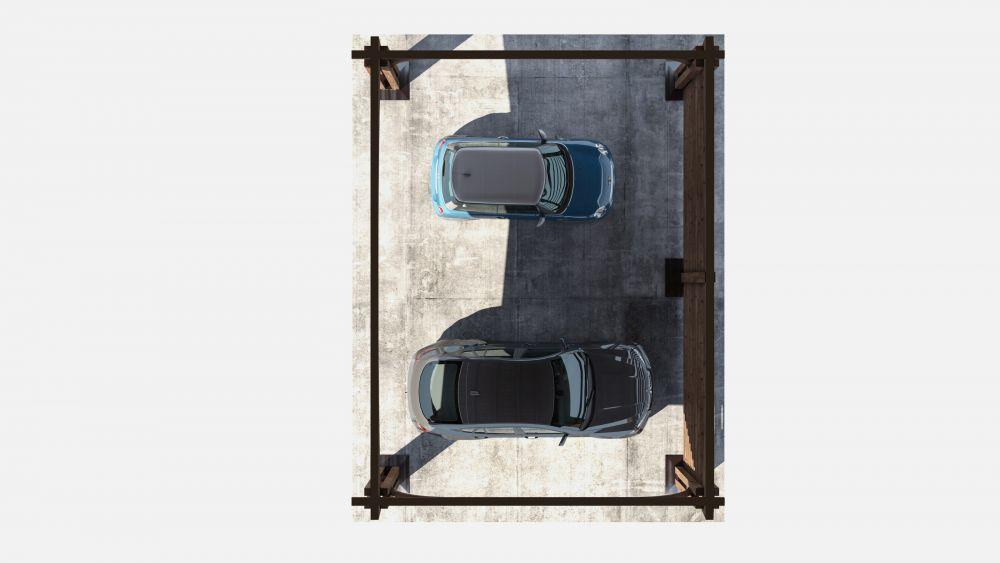 План навеса для автомобилей 8x6 метров «Мелитта» из гнутоклееного бруса под ключ