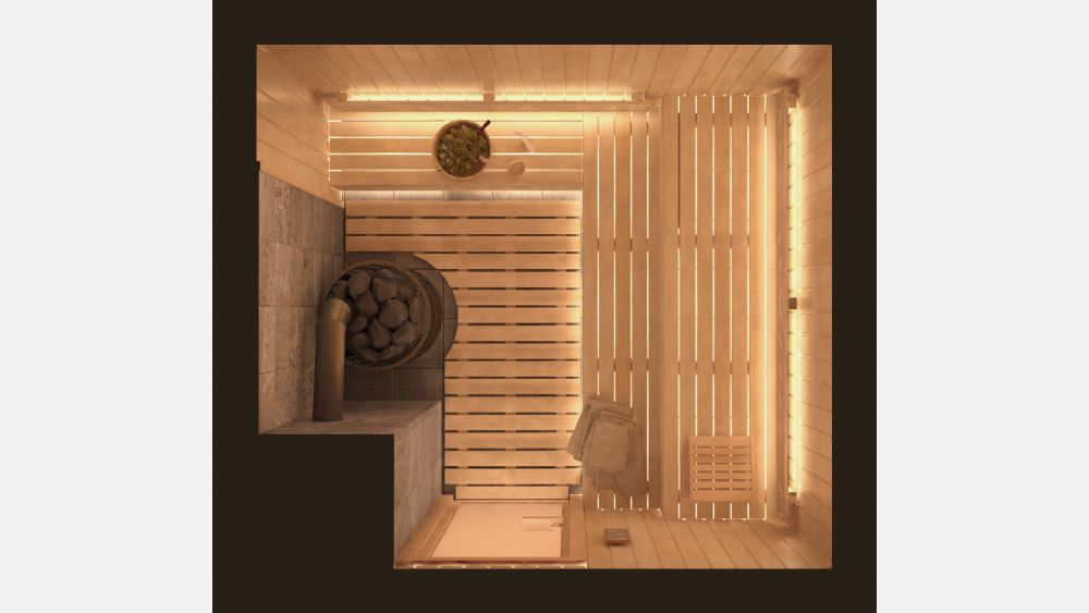 План парной с дровяной печью «Аделфа» 2,4х2,5 под ключ