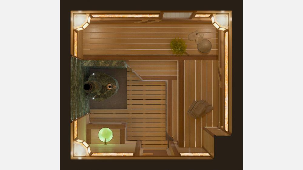 План парной с дровяной печью «Каллисто» 2,6х2,75 под ключ