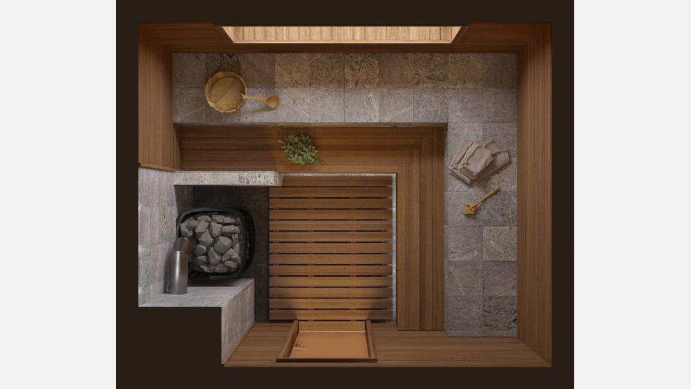План парной с дровяной печью «Эирин» 3х2,5 под ключ