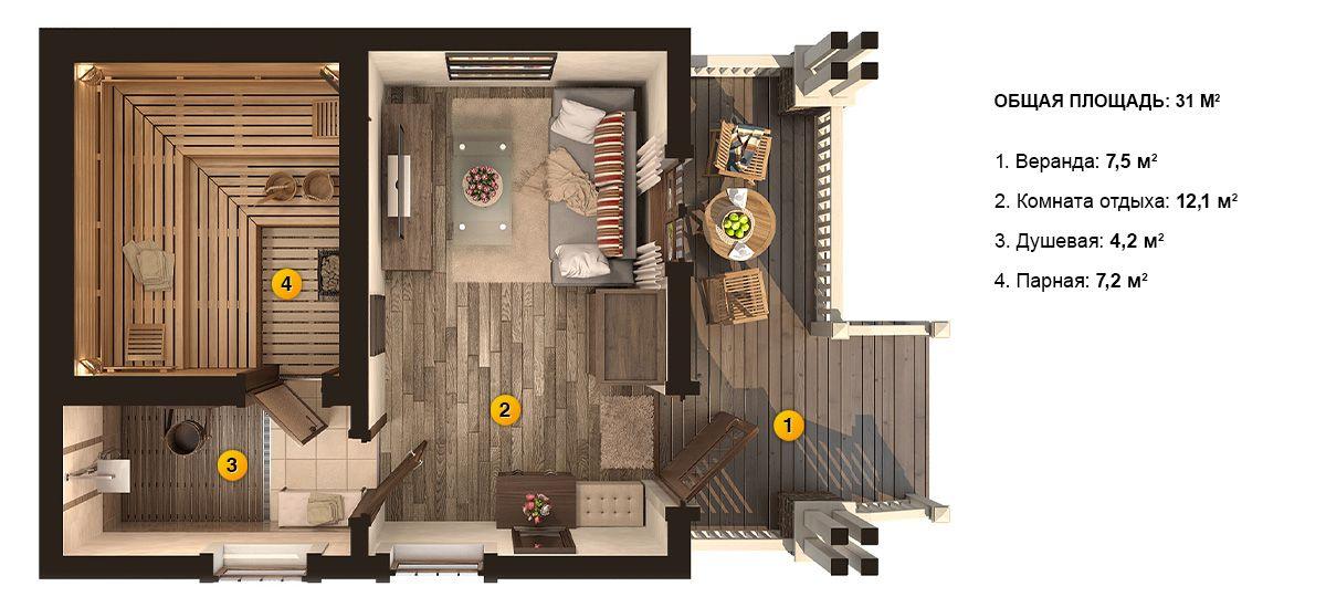 План бани «Деметра» 5х7,5 метров под ключ