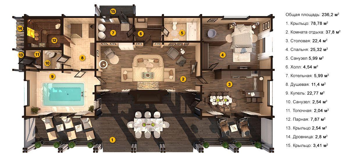 Планировка бани «Диона» 12,3х22 метров из клееного бруса под ключ