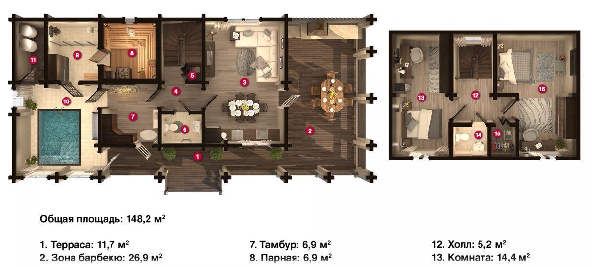 План бани «Рибера» 16,7х7,4 м из оцилиндрованного бревна под ключ