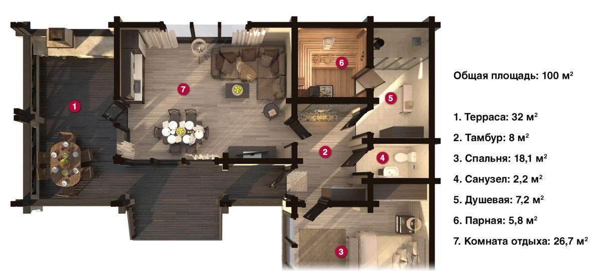 План бани «Вида» 10,2х14,5 м из оцилиндрованного бревна под ключ