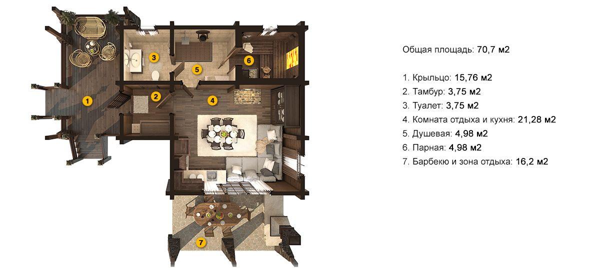 План бани «Флора L» 10,2 на 10,8 метров