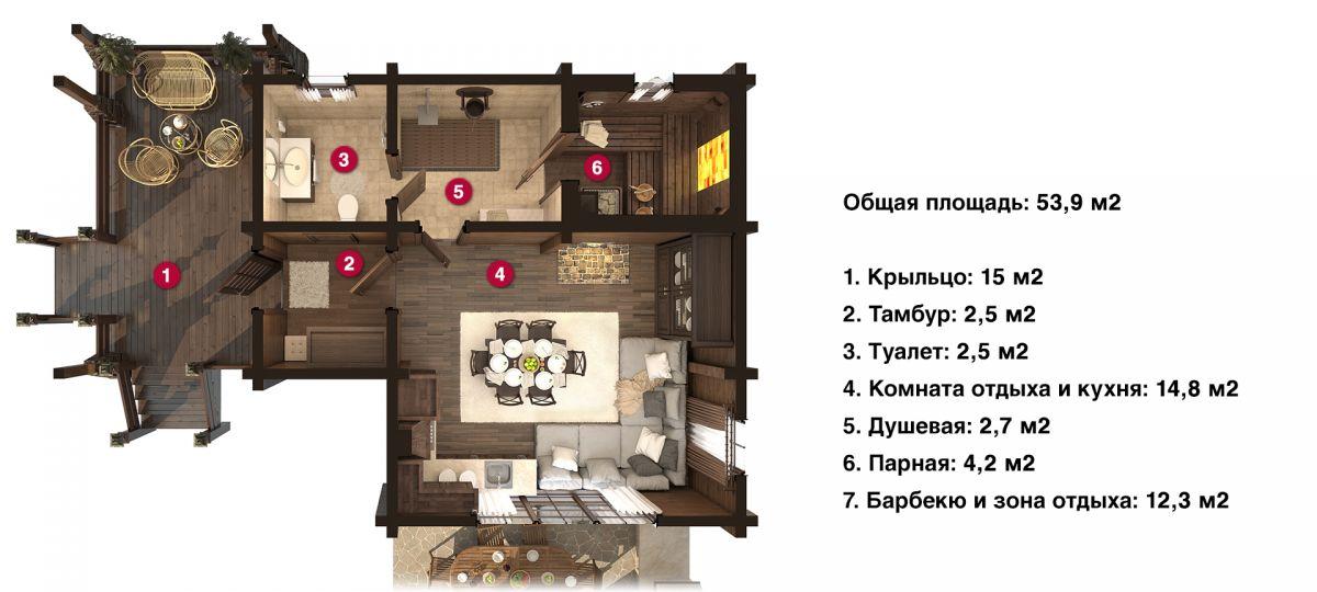 План бани «Парма» 8х9,9 м из оцилиндрованного бревна под ключ