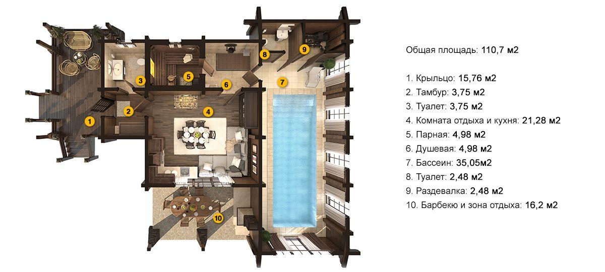 План бани «Флора XL» 10,8x14,2 метров