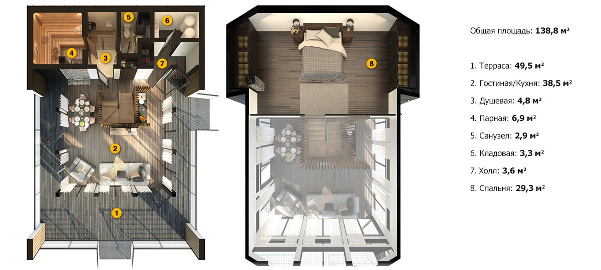 План двухэтажной бани «Гера» 9,3x13,3м под ключ
