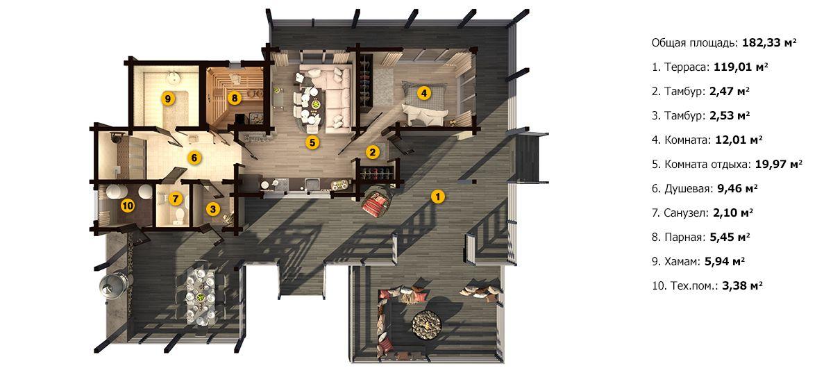 Планировка бани «Панфея» 14х16,3 м из клееного бруса под ключ