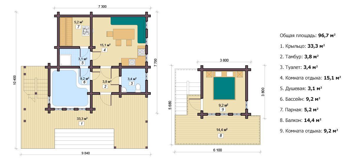Планировка бани «Кармента» 8х9,2 м из клееного бруса под ключ