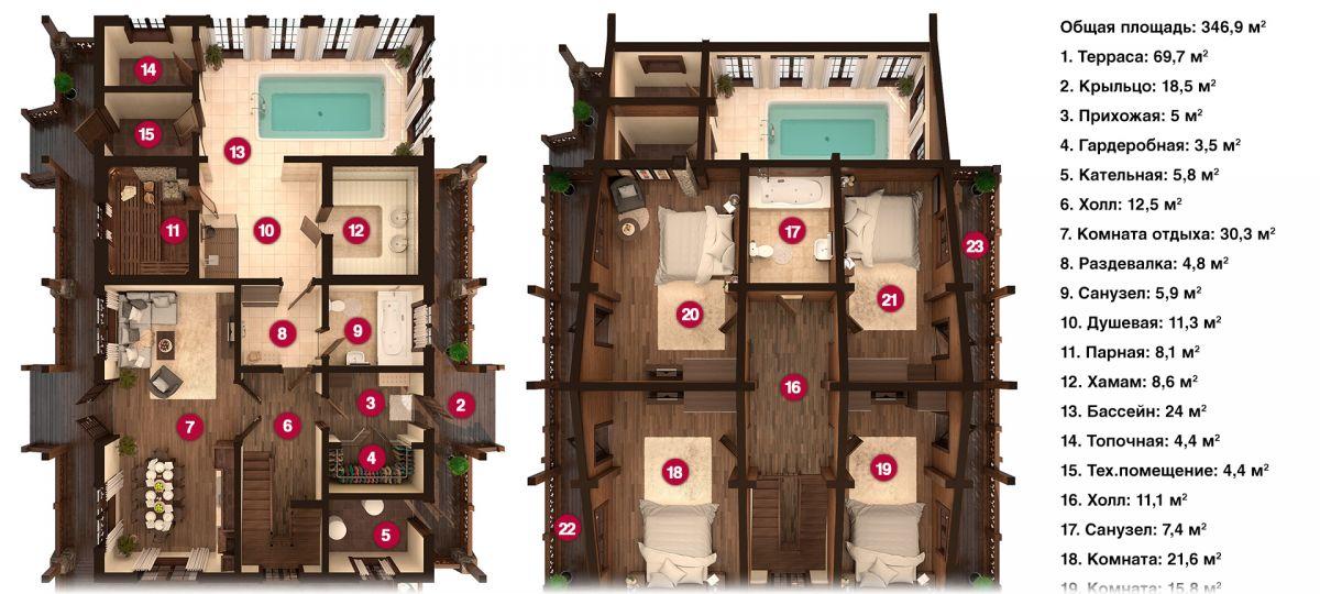 План бани «Данна» 20х12,5 м из оцилиндрованного бревна под ключ