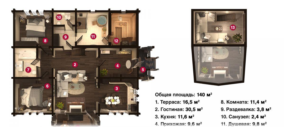План бани «Эмма» 13,5х13,5 м из оцилиндрованного бревна под ключ