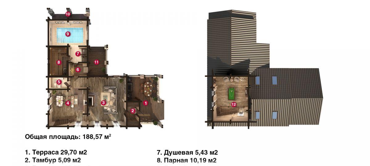 План бани «Кира» 3х16,7 м из оцилиндрованного бревна под ключ