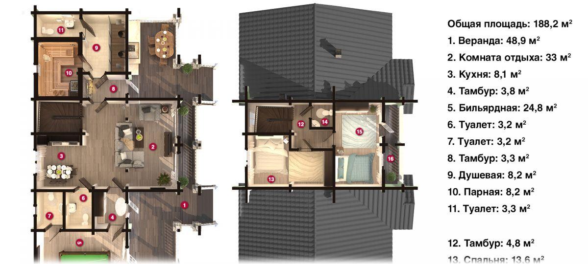 План бани «Асти» 9,7х17,6 м из оцилиндрованного бревна под ключ