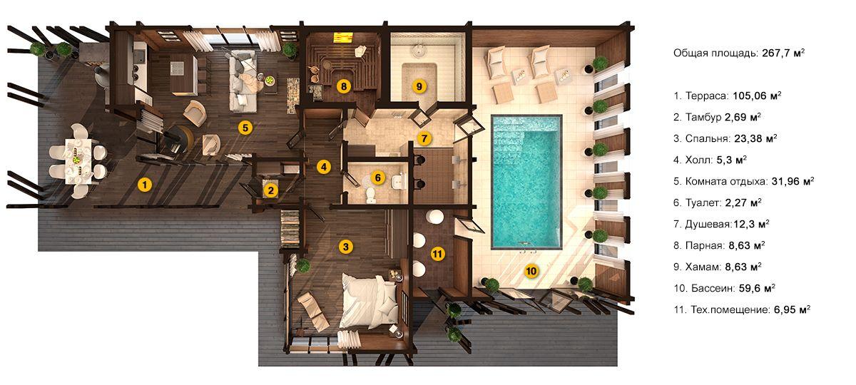 План бани «Мелина» 12,3х23,5 метров из клееного бруса под ключ