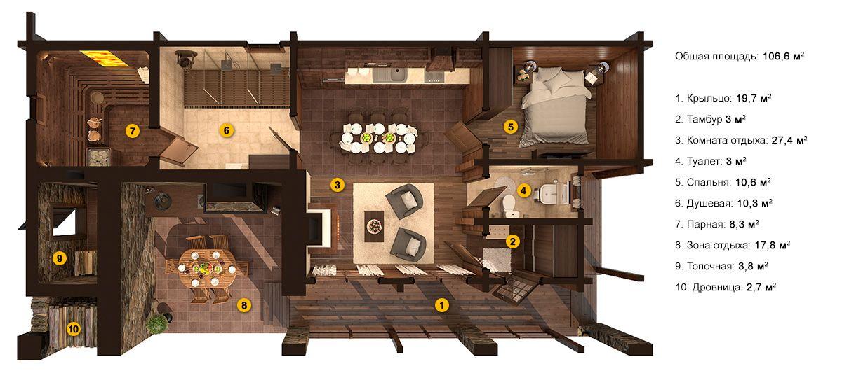 Планировка бани «Мелия» 7,9х15,4 метров из клееного бруса под ключ