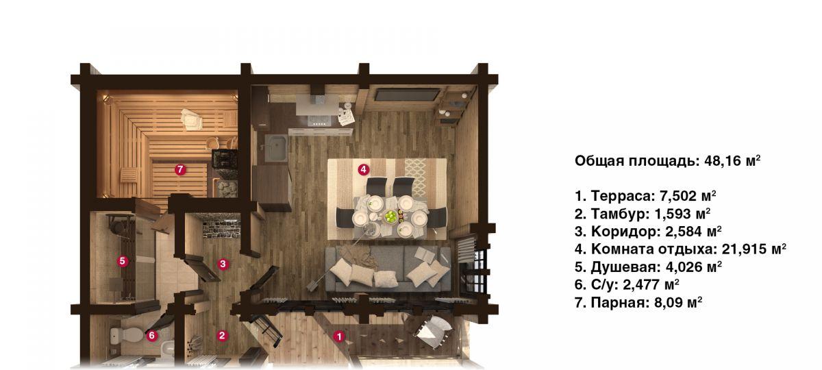 План бани «Рики» 6,8х9 м из оцилиндрованного бревна под ключ