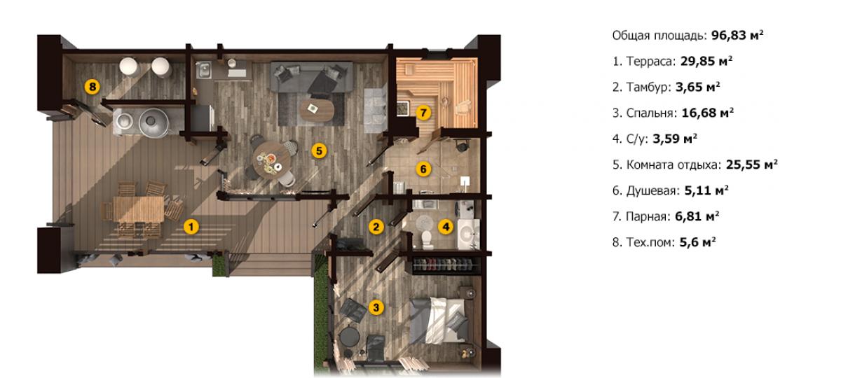 План бани «Авра S» 10,2х13,4 м из клееного бруса под ключ