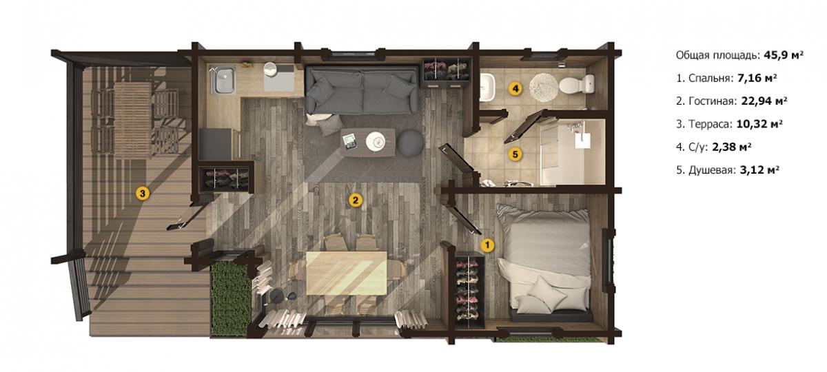 План трансформер дом-баня «Атэна S» 5,2х10,3 м из клееного бруса под ключ