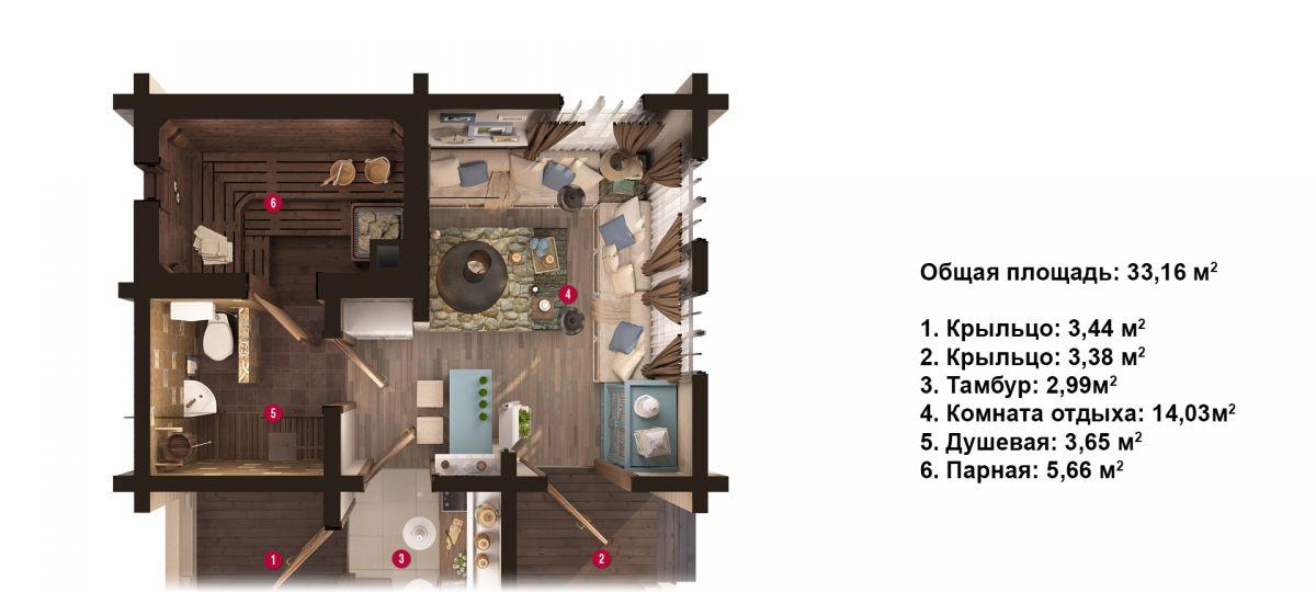 План бани «Нелла» 6,3х6,3 м из оцилиндрованного бревна под ключ