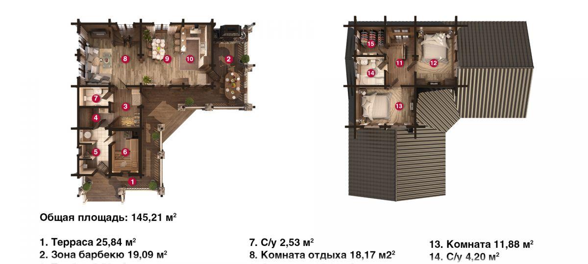 План бани «Дена» 12,4х12,6 м из оцилиндрованного бревна под ключ
